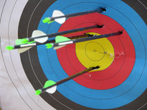Archery Target. With arrows no bullseye Stock Images