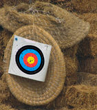 Archery target. Bulls eye on hay bales royalty free stock photos