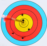 Archery target with arrow Stock Photo
