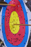 Archery target with arrow in the bullseye Stock Image