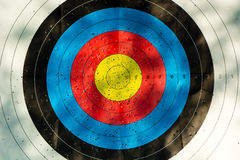 Archery target with arrow holes Royalty Free Stock Photos