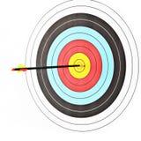 Archery target with arrow Stock Photo