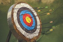 Archery target and arrows 3 Stock Photos
