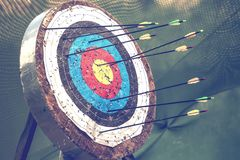 Archery target and arrows 2 Royalty Free Stock Images