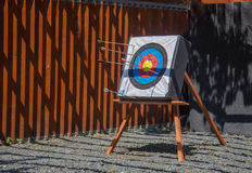 Archery target with arrows Stock Photos