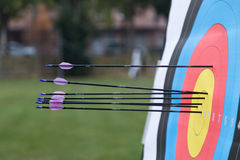 Archery target with arrows on it Royalty Free Stock Images