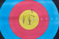 Archery target with arrows on it Stock Photos