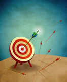 Archery Target with Arrows Metaphor Illustration. Archery field target with one big arrow hitting a bull's eye and other smaller arrows missing the target Stock Image