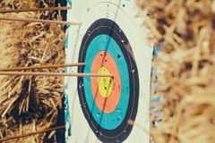 Archery target with arrows Royalty Free Stock Image
