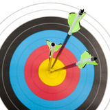 Archery target with arrows in square frame Royalty Free Stock Photos