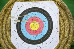 Archery Target With Arrows Royalty Free Stock Photos
