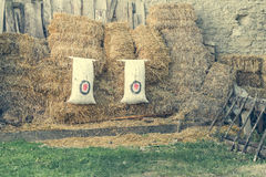 Archery target on the background of haystacks Royalty Free Stock Photo