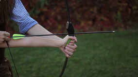 Archery on target. At birthday party stock video