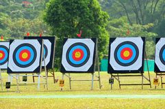 Archery target boards. Target boards set up for archery shooting Royalty Free Stock Photos