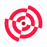 Archery target broken sectors. Red white. Icon, symbol, template stock illustration