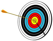 Archery target, bullseye, on white, vector illustration. Archery target with arrow in center, Bullseye shot, on white, vector illustration vector illustration