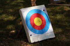 Archery target on a field. Archery target. Royalty Free Stock Photo