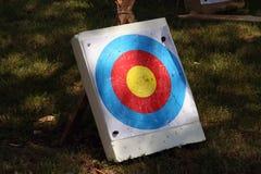 Archery target on a field. Archery target. Archery festival. Used archery target royalty free stock photo