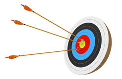Archery target isolated on white background with three arrows accurately stuck into the center ring, 3D rendering. 3D render of three long arrows lodged into the Stock Images