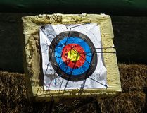 Archery target in park. Of Kalemegdan fortress in Belgrade stock photography