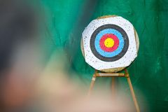 Archery target ring and an archer with a bow Royalty Free Stock Photos