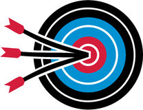 Archery target with three arrows Royalty Free Stock Photos