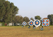 Archery Targets. Some Archery Targets on a game field Royalty Free Stock Photography