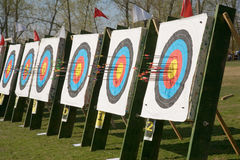 Archery Targets. With embedded arrows Stock Images