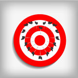 Archery targets and heart arrows on gray background Royalty Free Stock Photo