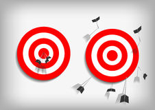 Archery targets and missed arrows on gray background. Vector : Archery targets and missed arrows on gray background Royalty Free Stock Image