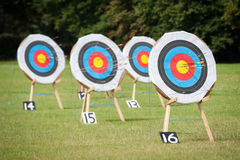 Archery targets. At various distances on a range Stock Photography