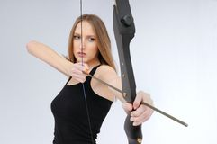 Archery - woman with bow Royalty Free Stock Photography