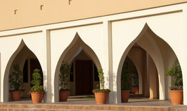 Arches. To the entrance of a Dubai Building stock images
