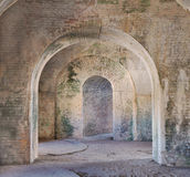 Arches of 1800 fort Interior. The interior arches of american fort built in tthe 1800's Royalty Free Stock Photo