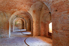Arches of 1800 fort Interior. The interior arches of american fort built in the 1800's Stock Photo