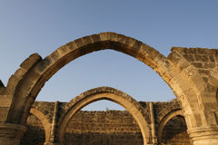 Arches. A historical place with an old palace in cyprus Royalty Free Stock Photography
