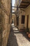Arches and alley Old Town Rhodes. Stock Photography
