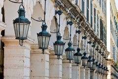 Arches And Lamps In Greece Stock Photos