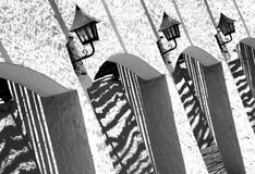 Arches And Lanterns Black And White Royalty Free Stock Photos