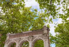 Arches of Ankeny Square in Portland, Oregon. Portland, Oregon, USA - May 29, 2010:  Trees provide shade over the arches of Ankeny Square in Portland, Oregon Stock Photography