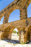 Arches of the aqueduct Pont du Gard, France, I century AD Royalty Free Stock Photo