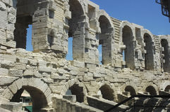 The arches of the Arles Coliseum. View of the arches of the Arles Coliseum Stock Images