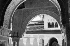 Arches in black and white. Alhambra palace located in Granada (Spain) is a master pice of the Islamic/Muslim Architecture in Europe Royalty Free Stock Photography