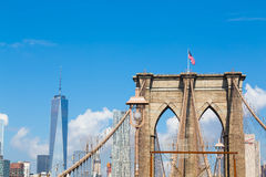 Arches of Brooklyn Bridge in NYC Stock Images