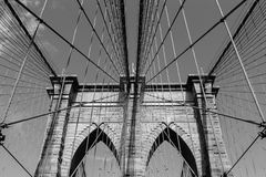 Arches of Brooklyn Bridge in NYC Royalty Free Stock Photos