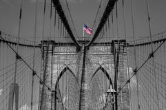 Arches of Brooklyn Bridge in NYC Royalty Free Stock Photography