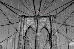 Arches of Brooklyn Bridge in NYC Stock Photography