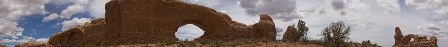 Arches and Canyonlands NP Panorama, Moab, Utah. Panorama of Windows area in Arches National Park on summer day. Great for themes of nature, wilderness, canyons Stock Images