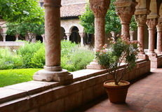 Arches and carved columns stock photos