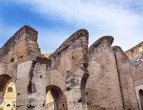 Arches Colosseum Amphitheatre Rome Italy. Arches Bricks Concrete Building Materials Construction Colosseum Rome Italy.  Built by Emperors Vespasian and Titus in Stock Photo